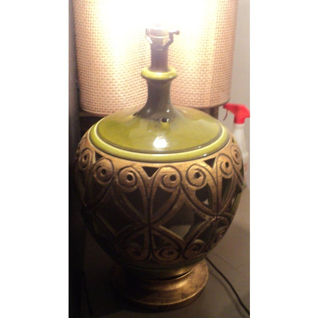 Ceramic Vintage 1970s Mid-Century Modern Large Table Lamp For Sale - Image 7 of 9