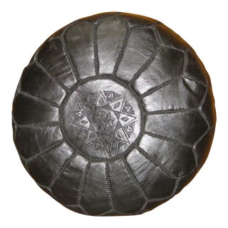 Moroccan Black Leather Pouf For Sale