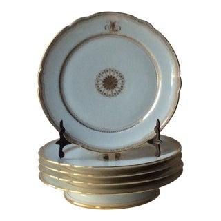 1900s French Porcelain Dessert Plates - 5 Pieces For Sale