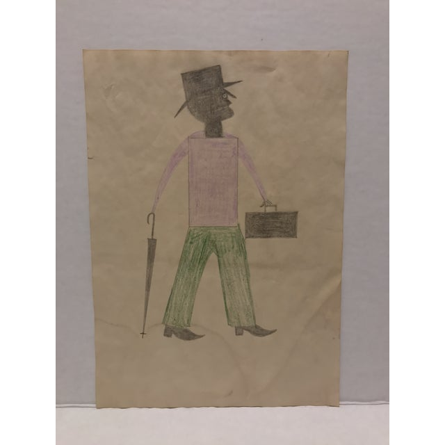 Museum Quality Rendering Inspired By The Works Of Bill Traylor. Drawn Free Hand Using Using Pencil & Crayon On Aged Paper....