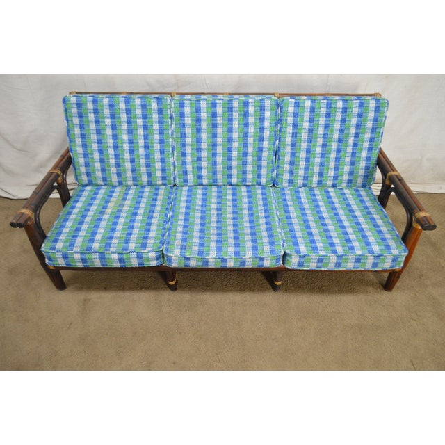 Mid-Century Modern Ficks Reed Vintage Rattan Bamboo Frame Sofa (B) For Sale - Image 3 of 13