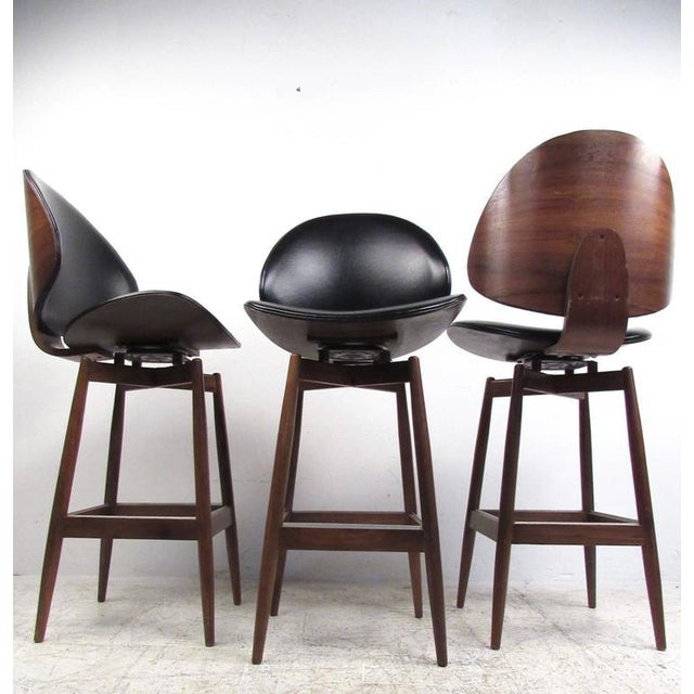 Mid-Century Modern Clamshell Bar Stools - Set of 3 For Sale - Image 5 of 11