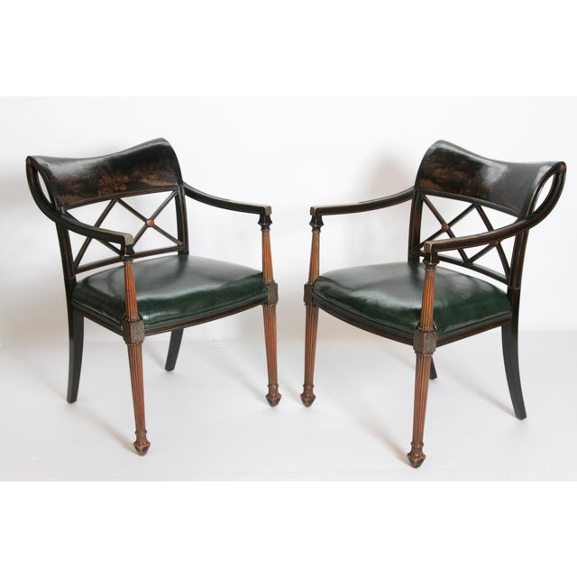 Pair of Regency Style Lacquer Arm Chairs For Sale - Image 13 of 13