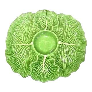 Majolica Cabbage Leaf Chips and Dip Platter