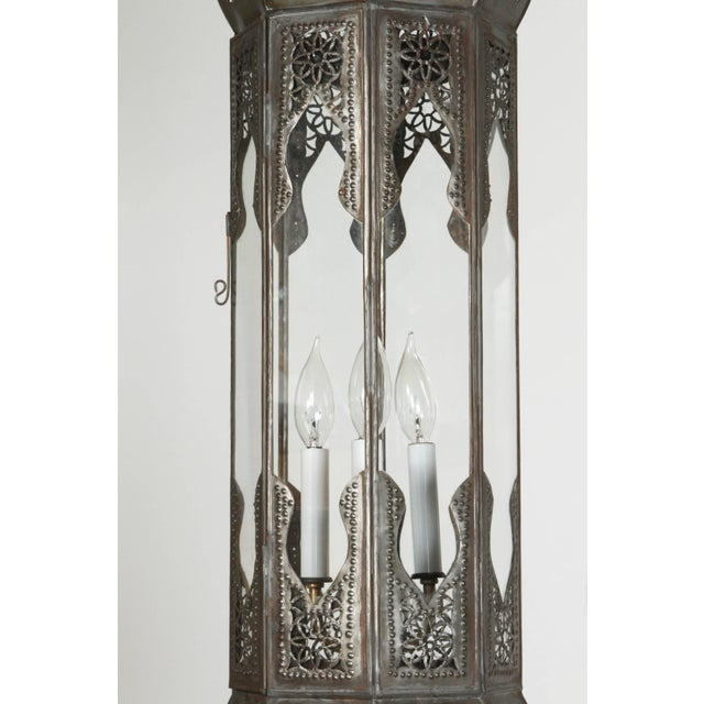 Moroccan Artist Large Pair of Metal and Clear Glass Moorish Moroccan Light Pendants For Sale - Image 4 of 7