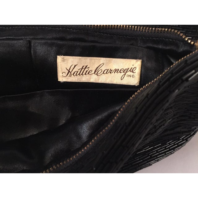 Hattie Carnegie Oversized Black Bugle Beaded Evening Clutch Bag Circa 1930 For Sale In Philadelphia - Image 6 of 7