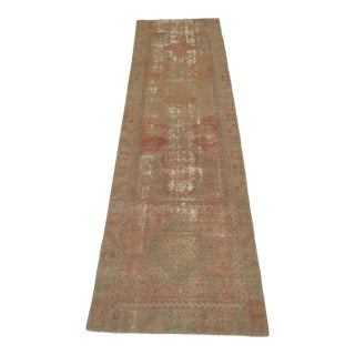 "1960's Vintage Turkish Hand-Knotted Runner-3'2"" X 11'9"" For Sale"