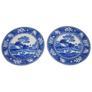 """Blue Wedgwood """"Fallow Deer"""" Chargers - a Pair For Sale"""