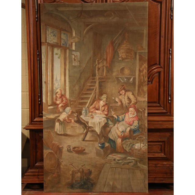 Large 19th Century French Hand-Painted Canvas on Stretcher After David Teniers For Sale - Image 4 of 9