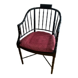 Baker Faux Black Lacquered Bamboo Chippendale Style Chair For Sale
