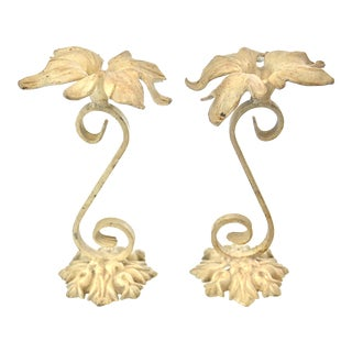Ivory & Gold Wrought Iron Flowers - A Pair For Sale