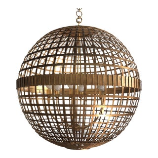 Art Deco Aerin Lauder Gold Globe Circa Lighting Chandelier For Sale
