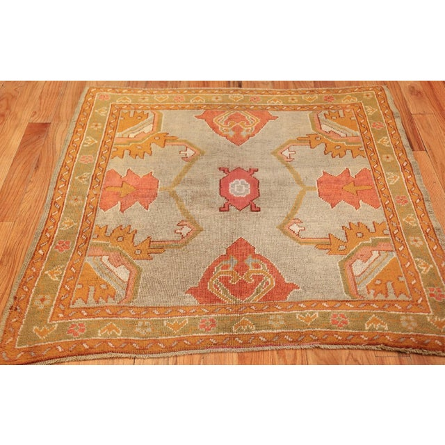 Red Antique Turkish Oushak Square Rug - 3′10″ × 4′ For Sale - Image 8 of 10