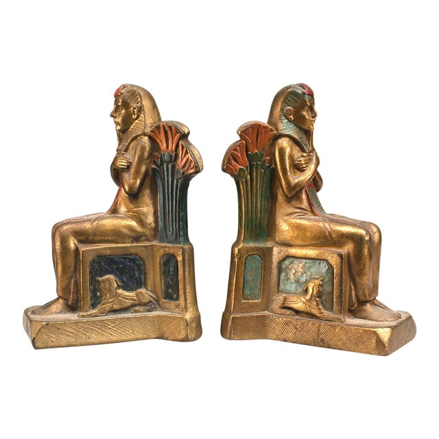 Pair of Early 20th Century Czech, Egyptian Revival Seated Pharaoh Bookends For Sale