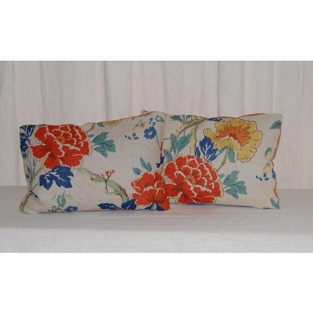 GP Baker Linen Floral Pillows - A Pair - Image 2 of 4