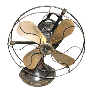 Antique Oscillating Fan With Brass Blades