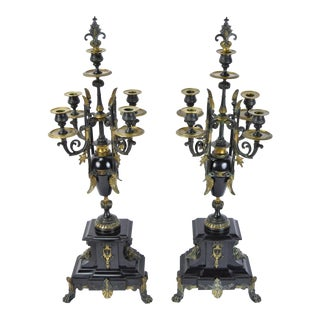 Late 19th Century Antique Egyptian Revival Gilt Bronze & Marble Candelabras - A Pair For Sale