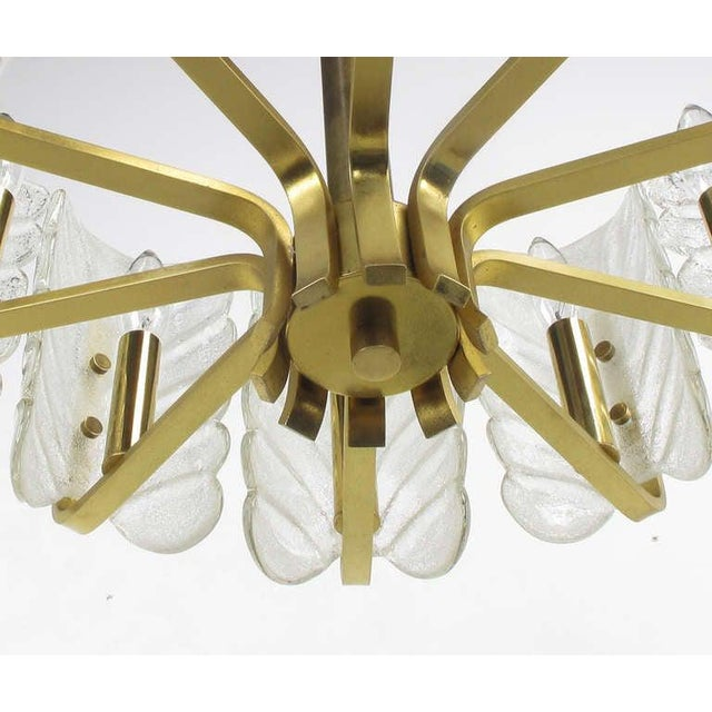 Murano Glass Acanthus Leaf and Brass Ten-Arm Chandelier For Sale - Image 9 of 10