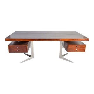 Herbert Hirche Minimalist 'Top Series' Executive Desk in Rosewood For Sale