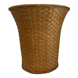 Vintage Boho Chic Natural Wicker Rattan Waste Basket For Sale