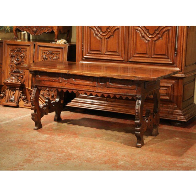 Important 18th Century Spanish Carved Walnut Console Table With Secret Drawers For Sale - Image 9 of 12