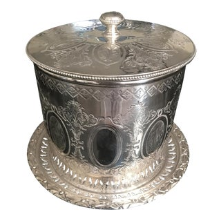 Antique Victorian Silver Plate Barrel Form Biscuit Box by Martin Hall & Co. For Sale