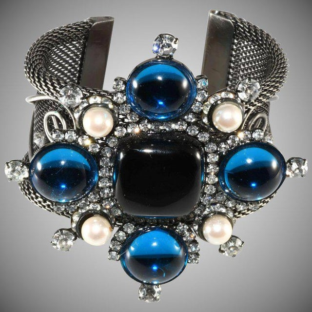 Lawrence Vrba Rhinestone Statement Cuff Bracelet Maltese Cross Blue Black For Sale In Austin - Image 6 of 6