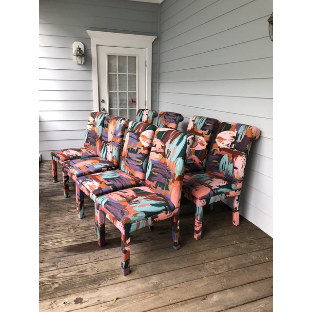 Wood Vintage Parsons Chairs Chairs Set of 8 For Sale - Image 7 of 7