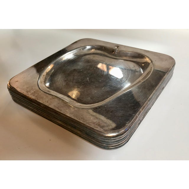 """Set of 6 Chrome Square Cocktail Plates , Italy 1970s The """"Apple"""" curved inside the square is minimal and cute at the same..."""