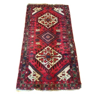 Vintage Persian Rug Magenta Rug Tribal Center Diamond Medallion Runner
