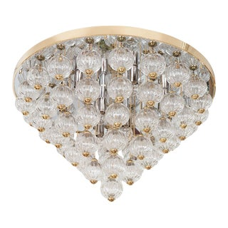 1970s Tiered Suspended Gold and Clear Austrian Glass Ball Flush Mount For Sale