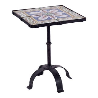 Hand Painted Italian Tile Top Iron Side Table For Sale
