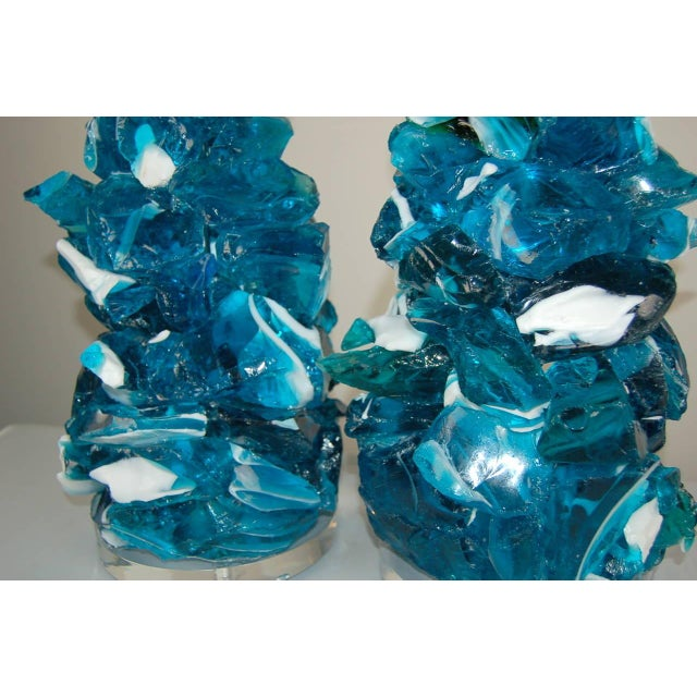 Turquoise Glass Rock Table Lamps by Swank Lighting Striped Blue For Sale - Image 8 of 10