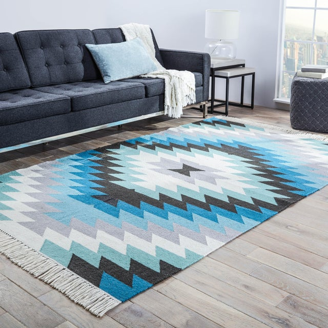 2010s Jaipur Living Mojave Indoor/ Outdoor Geometric Aqua/ Gray Area Rug - 2′ × 3′ For Sale - Image 5 of 6
