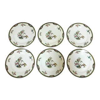 "Japanese Noritake Porcelain Luncheon Dishes in ""Pheasant"" Pattern Circa 1920's - Set of 6 For Sale"