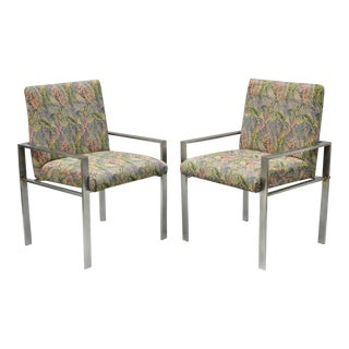 Pair Harvey Probber Attr Aluminum Lounge Arm Chairs Vintage Metal Mid Century Modern For Sale