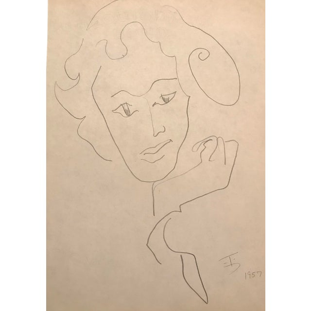 Mid-Century Modern Portrait of a Lady Drawing by James Bone, 1957 For Sale