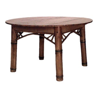Early 20th Century Bamboo and Pine Round Dining Table For Sale