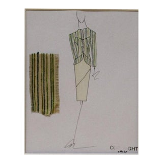 1990s Green Striped Suit Fashion Illustration For Sale