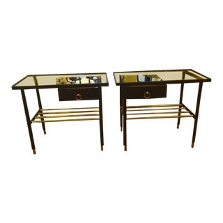 Jacques Adnet Pair of Night Stands in Hand-Stitched Black Leather For Sale
