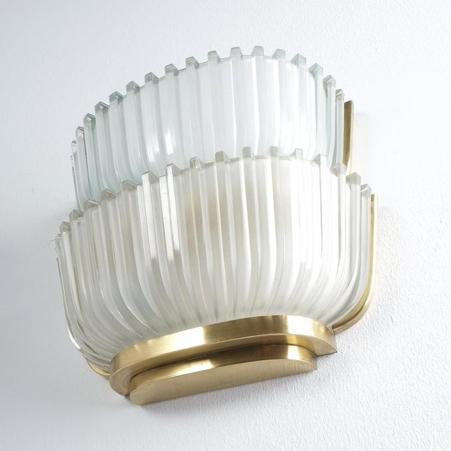 Pair of Late Art Deco Glass and Brass Sconces Refurbished, Italy, Circa 1940 For Sale - Image 4 of 12