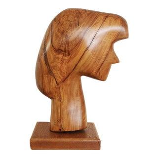 Vintage Studio Craft Modernist Head Sculpture | Handcrafted Olive Wood Carved Art Object Bust | Signed For Sale