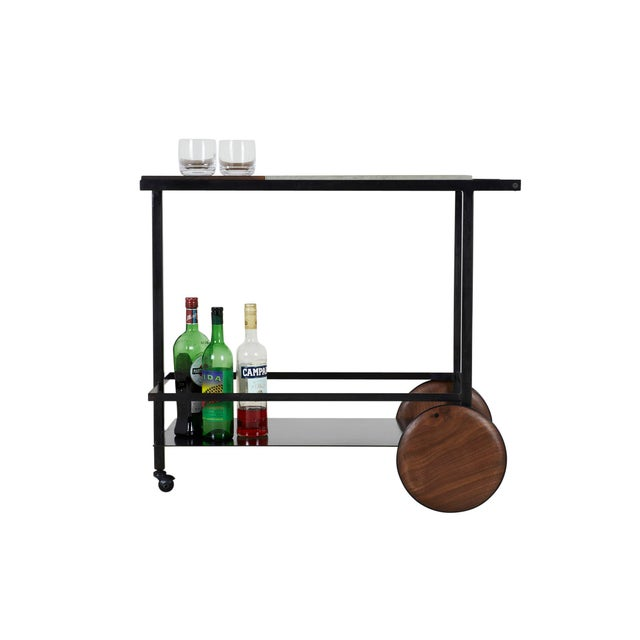 Contemporary Concrete Steel and Walnut Bar Cart For Sale - Image 3 of 9