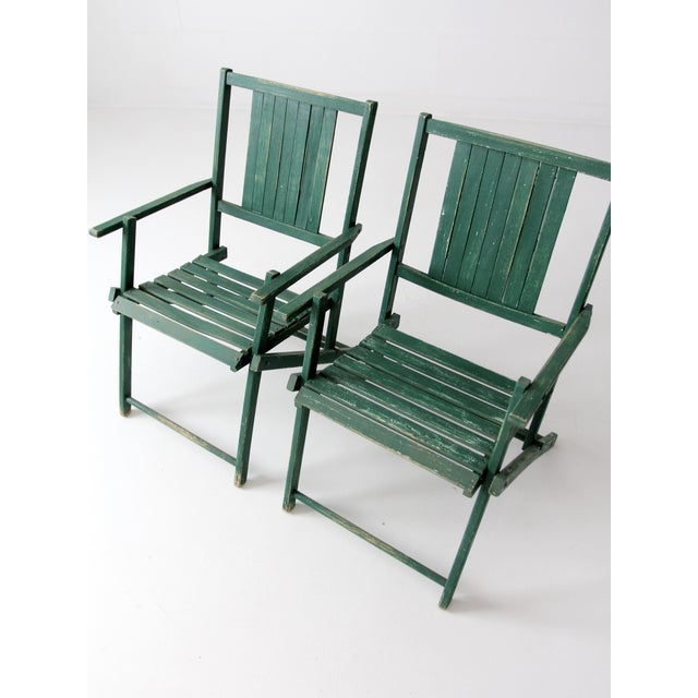 Wood Vintage Wood Folding Chairs in Emerald - A Pair For Sale - Image 7 of 8