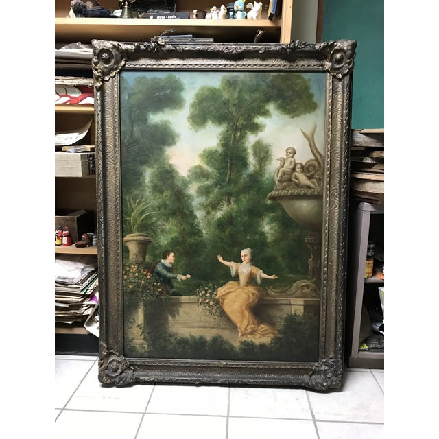 Antique French Oil Painting on Canvas For Sale - Image 10 of 10