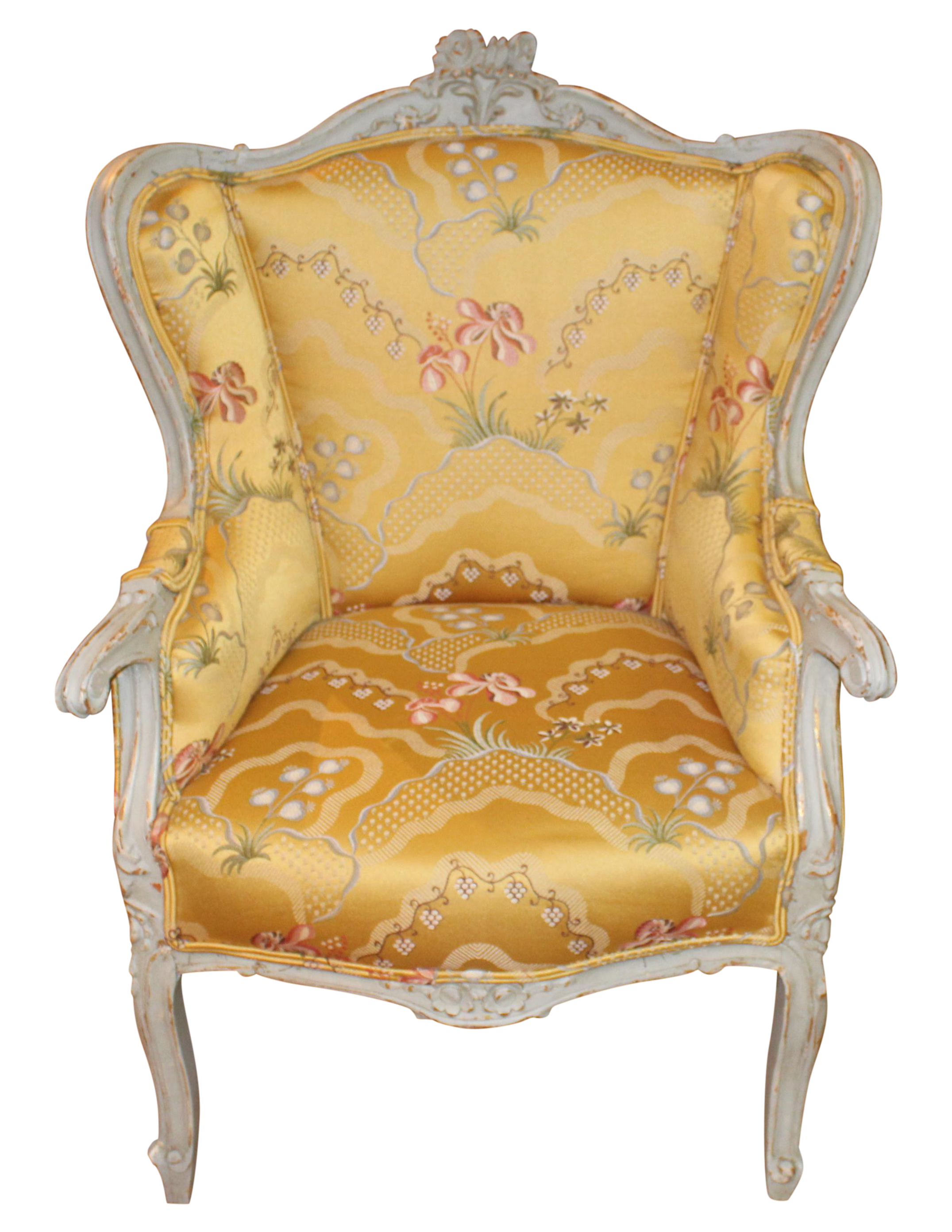 Elegant French Style Floral Accent Chair