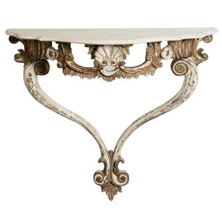 Italian 19th C. Louis XV Style Painted and Gilt Wood Console Table For Sale