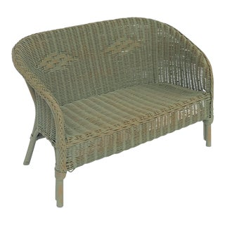 English Wicker Garden Child's Settee Bench or Seat by Lloyd Loom For Sale