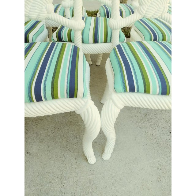 1980s Set of 10 Stunning Gloss White Rope Knot Nautical Coastal Twisted Dining Room Chairs W/Blue Striped Fabric For Sale - Image 5 of 11