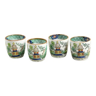 Crown Staffordshire Ye Olde Willow Egg Cup Set/4 For Sale